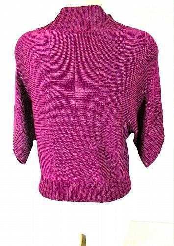 Worthington womens Medium S/S purple CROPPED 2 button cardigan sweater (G)