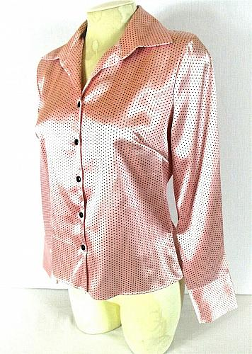 Lauren Lee womens Small L/S pink black POLKA DOT button down stretch top (J)PMTD