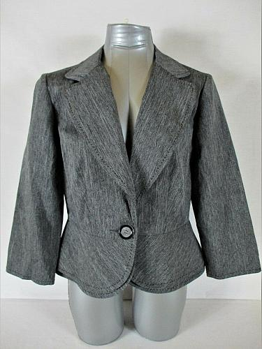 SWEET SUIT womens Sz 12 L/S gray ONE BUTTON jacket (A4)