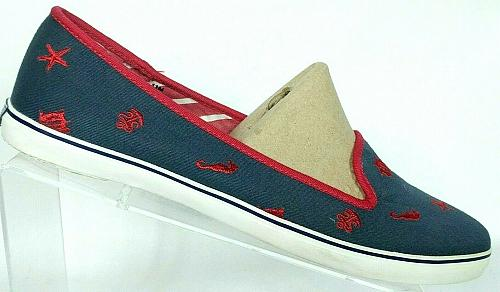 Sperry Top Sider Womens Nautical Seaside Canvas Slip On Loafer Shoes Size 11 M