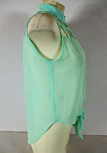 POOF COUTURE womens Medium sleeveless aqua CUTOUT NECKLINE hi low sheer top (R)