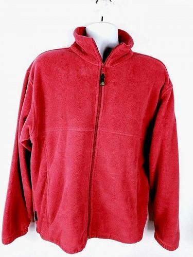Columbia Men's Fleece Pullover Sweatshirt Large Zip-Up Red