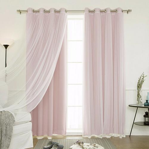 Window Curtains Grommet Drapes Baby Infant 2 Blackout 2 Sheer Tulle Total Set 4