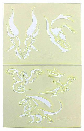 "Dragons -2 Piece Stencil Set 14 Mil 8"" X 10"" Painting /Crafts/ Templates"