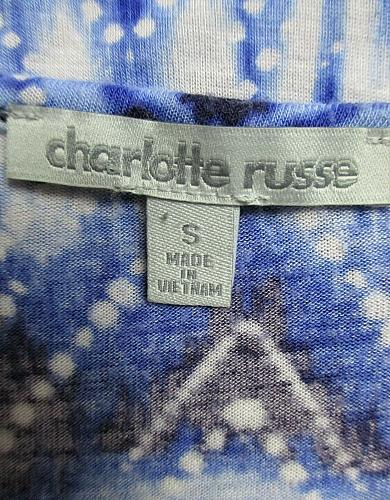 CHARLOTTE RUSSE womens Small S/S blue black white TIE FRONT stretch crop top M)P