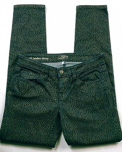 Ann Taylor Loft Women's Modern Skinny Jeans Size 0P Black Gold Stretch