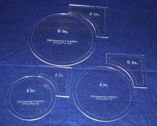 "Circle Within Square Set 3"", 4"", 5"" Circles - 4"", 5"", 6"" Quarter Squares 1/8"""