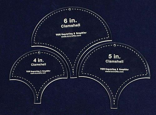 "Clamshell Templates. 4"", 5"", 6"". - Clear Acrylic 1/8"""