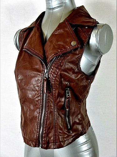 PAPER TEE womens Medium sleeveless brown FAUX LEATHER ZIPPER jacket (A5)P