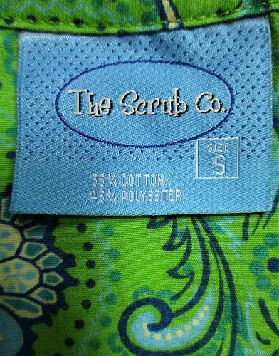 THE SCRUB CO womens Small S/S green blue white FLORAL print scrub top (C)