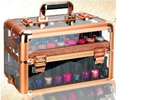 Rose Gold Nail Polish Manicure Organizer Storage Makeup Train Case Box Travel
