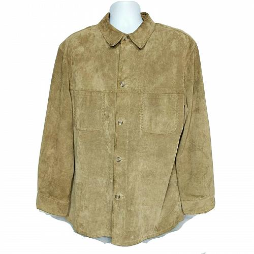 Mark Shale Mens Suede Leather Coat Size Large Solid Tan Pockets Button Up