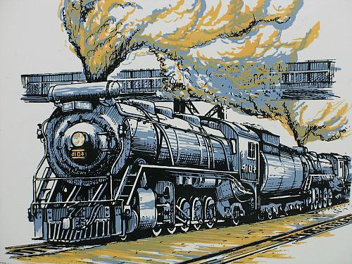 "Vintage Train Railroad Railway Tile Trivet Plaque Employee 6"" CN 4104 Santa Fe"