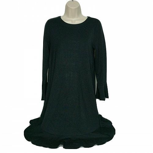 Loft Womens Bodycon Dress Size XS Black Boat Neck Bell Sleeve Zip Up