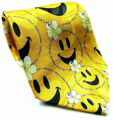 Hawaiian Floral Smiley Face Aloha Maui Gold Novelty Necktie