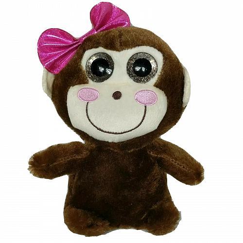 "MTY International Brown Monkey Glitter Eyes Chimpanzee Ape with Bow Plush 8.5"""