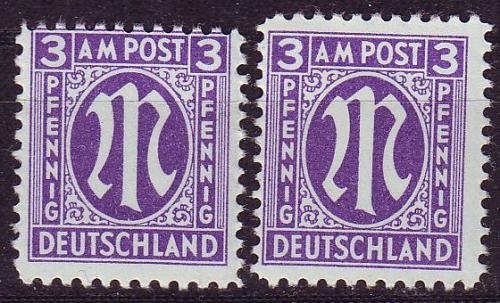 GERMANY Alliiert AmBri [1945] MiNr 0017 b A,B ( **/mnh )