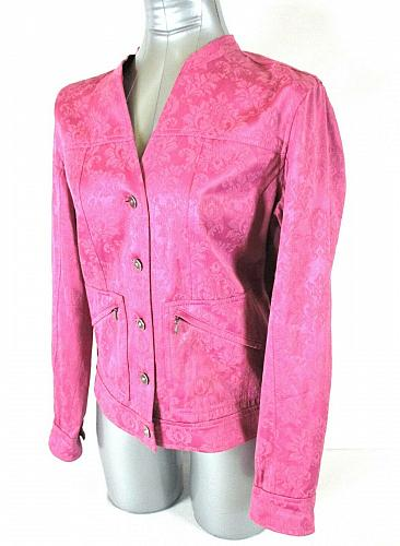 AMBER SUN womens Small L/S pink floral RHINESTONE BUTTONS 2 pocket jacket (A2)M