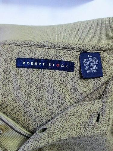 ROBERT STOCK mens XL S/S GOLD BROWN CHECKS POLO GOLF SHIRT (I)