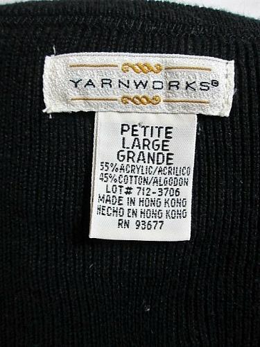 YARNWORKS womens Large petite 3/4 SLEEVE GREEN BLACK COLOR BLOCK SWEATER (V)P