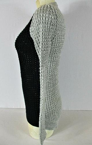 RUE 21 womens Small L/S black gray HI LOW knit stretch sweater (C4)