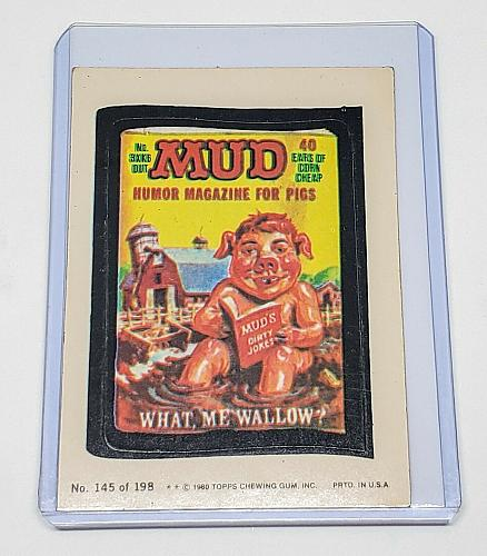VINTAGE 198O Topps Wacky Packages MUD HUMOR MAGAZINE FOR PIGS #145 NMNT