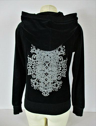 CYNTHIA ROWLEY womens Small L/S black VELOUR zip up hooded stretch jacket (B)P