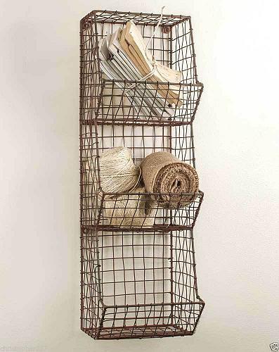Wall Basket Three Bin Metal Wire Handmade Storage Organizer Country Farmhouse