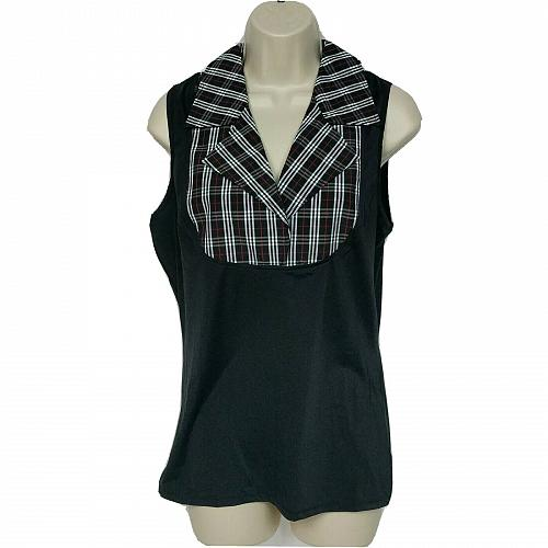 Kathleen Kirkwood Dictrac-Ease Notch Collar Top Small Black Plaid