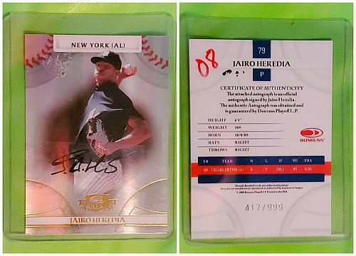 MLB JAIRO HEREDIA NEW YORK YANKEES AUTOGRAPHED 2008 DONRUSS THREADS /999 MINT