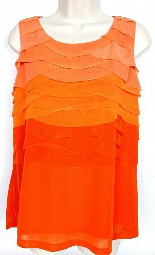Worthington Petite Women's Sleeveless Blouse Top Size PL Layered Tiered Orange