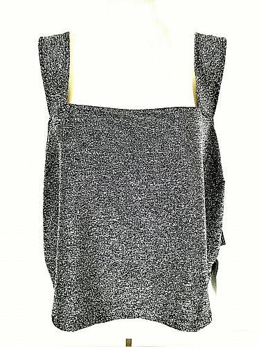 Leith womens Sz 3X black SILVER METALLIC wide strap STRETCH top NWT (B5)P