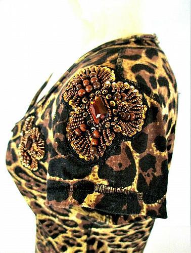 Newport News womens Small brown black ANIMAL print BEADS & Lg STONES top (N)PMTD