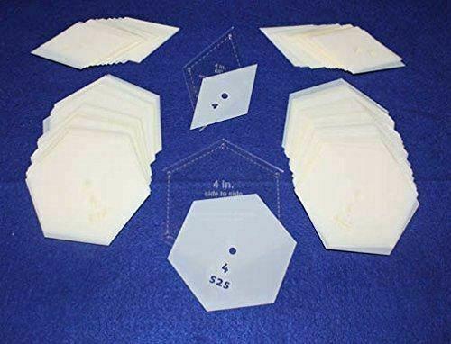 "Mylar 4"" Hexagon (Side to Side Measurement) & 4"" 60 Degree Diamond 102 Piece Set"