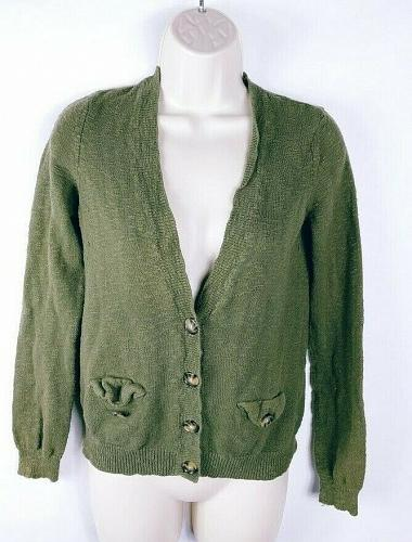 American Eagle Outfitters Women's Cardigan Sweater Size Medium Green Pockets