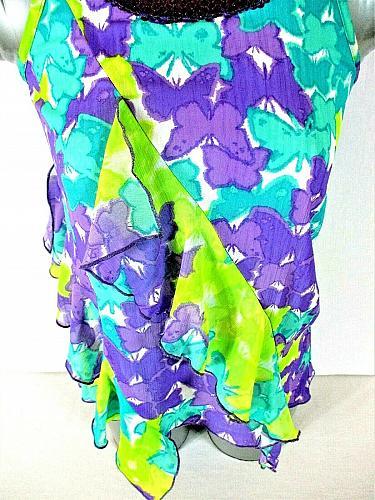 Pogo Club girls L (10/12) purple green RUFFLES lined SEQUINS stretch top (J)PMTD