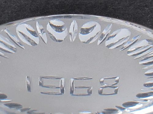 cut Glass hand made paperweight signed Cristallerie Lorraine france 1968