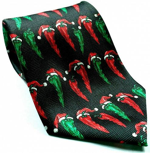 Red Green Hot Chili Pepper Wearing Santa Claus Hat Christmas Funny Novelty Tie