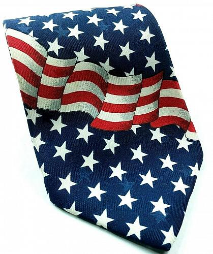 American Flag Red White Blue Patriotic Stars Stripes Novelty Tie