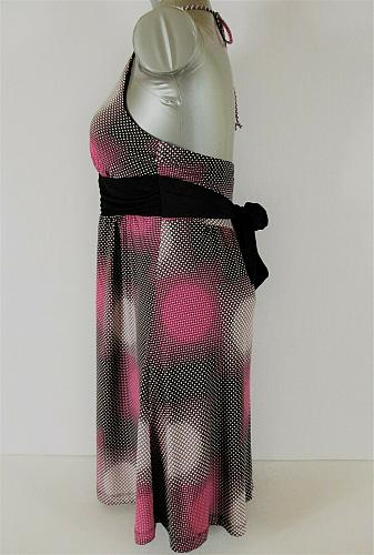 MY MICHELLE womens Small Halter black pink white EMPIRE WAIST stretch dress (C4)