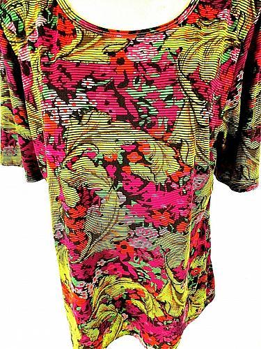 LuLaRoe womens 3XL S/S yellow purple orange FLORAL comfortable STRETCH top (J)