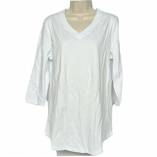 Isaac Mizrahi Live! Essentials Pima Cotton 3/4 Sleeve Tunic Medium Bright White