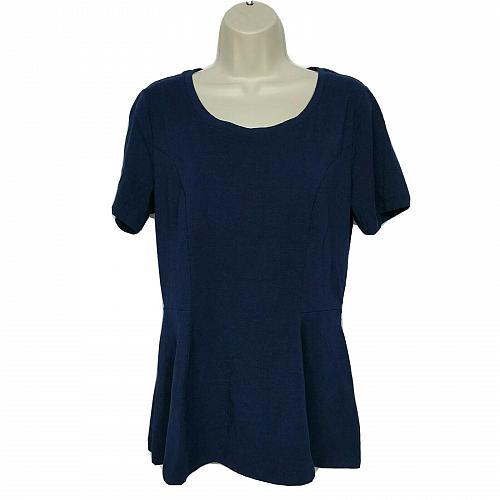 Isaac Mizrahi Live! Short-Sleeve Seamed Peplum Knit Top Small Blue Scoop Neck