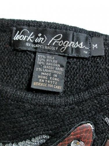 WORK IN PROGRESS womens Medium BLACK SEQUINS SILK ANGORA BLEND SWEATER (V)P