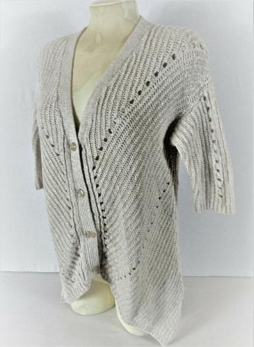 BELLDINI womens Large S/S white BUTTON DOWN cardigan knit sweater (C5)