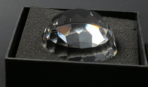 Half Globe pattern glass faceted paperweight,