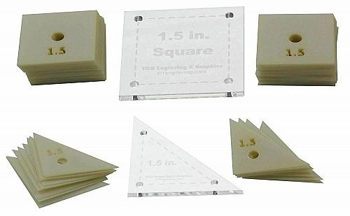 """Mylar 1.5"""" Square & 1.5 Right Triangle 102 Piece Set - Quilting / Sewing Templat"""