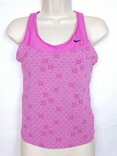 Nike Women's Tank Top Small Pink Geometric Athletic Sleeveless Shelf Bra