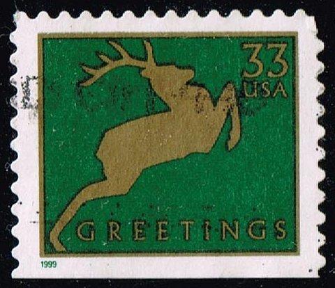 US #3367 Reindeer (Green); Used (2Stars) |USA3367-02