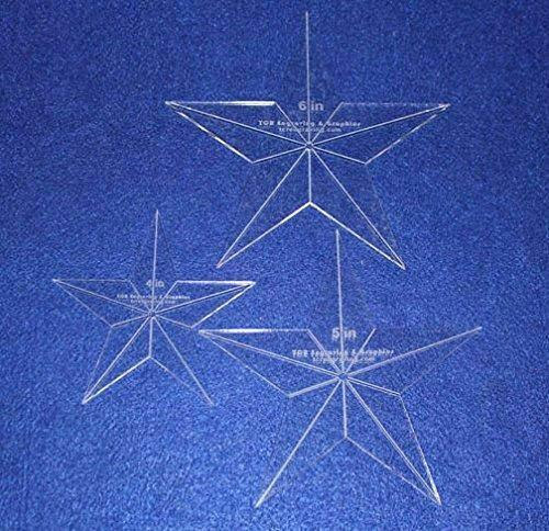 """Star Quilt Templates. 4"""",5"""",6"""" - Clear 1/8"""" Thick Acrylic"""